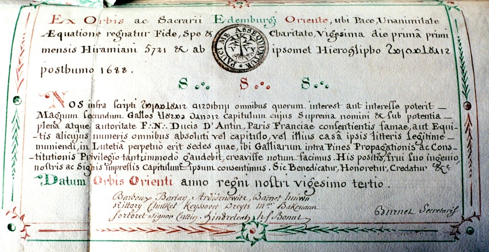 Patente Gerbier de 1721